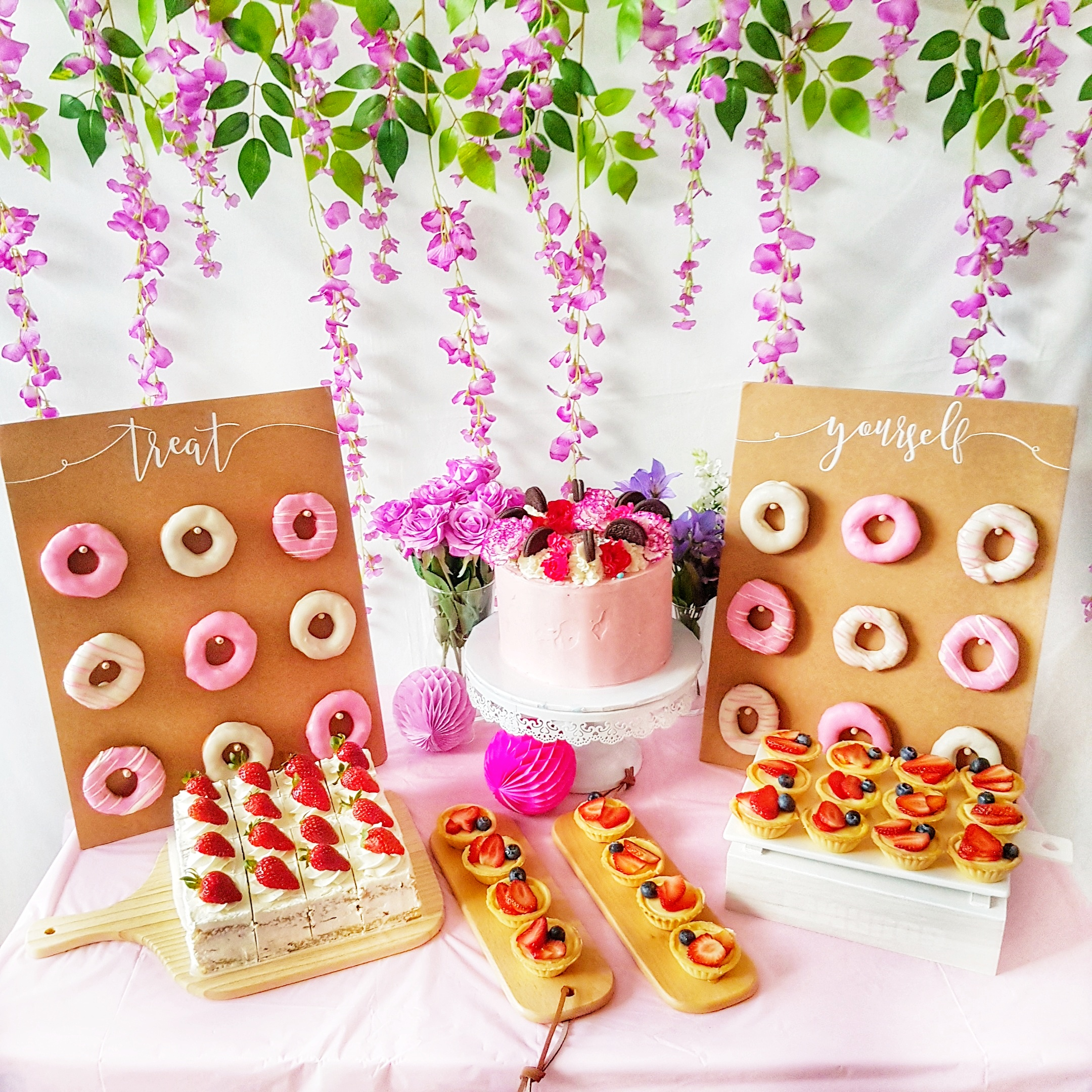 Pink and Floral Dessert Table
