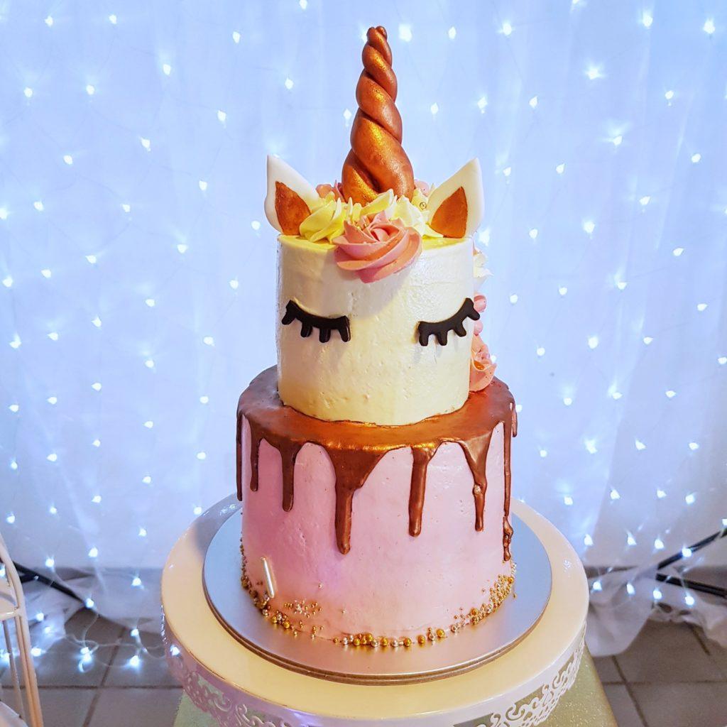 Rose Gold Unicorn Cake